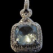 14 Karat White Gold Aquamarine and Diamond Pendant