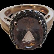 14 Karat Rose Gold Kunzite Enhanced With Diamonds Ring