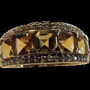 14 Karat Yellow Gold Citrine Enhanced with Diamond Ring