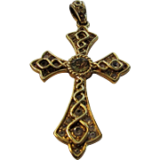 Vintage Costume Goldtone Cross Pendant With Clear Crystal Stone Accents