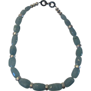 O.O.A.K. Natural Aquamarine Beads With Sterling Bead Accent Necklace With Sterling Toggle Clasp