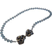 One of A kind Blue Topaz Beads With Unique Sterling Floral Clasp