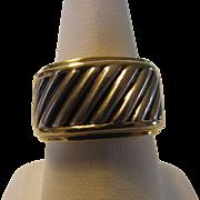 David Yurman Sterling Silver and 14 Karat Cigar Band Ring