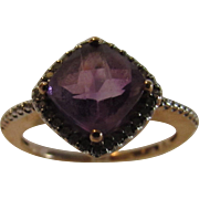 10 Karat Rose Gold Amethyst and Diamond Ring