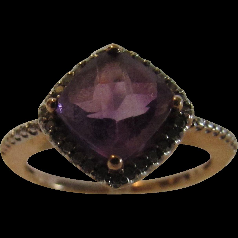 10 Karat Rose Gold Amethyst And Diamond Ring From