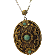 Vintage Goldtone Necklace with Pendant Decorated With Peking Glass Accents