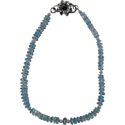 O.O.A.K. Genuine Blue Topaz Beads With Unique Sterling Floral Clasp and Beads