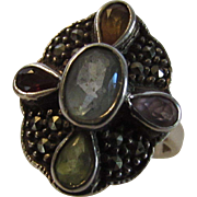 Sterling Silver Marcasite Gemstone Ring Featuring Center Blue Topaz
