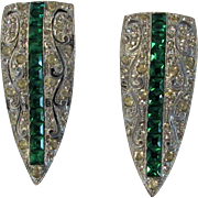 Vintage Deco Matched Clips in Green and White Crystals