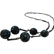 Vintage Necklace With Five Mosaic Balls Enhanced With Enamelled Segments
