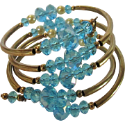 Vintage Wrap Around Bracelet Showered With Faux Blue Topaz