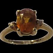 14 Karat Yellow Gold Citrine and Diamond Ring