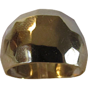 14 Karat Yellow Gold Designer Signed Modernist Ring