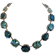 Vintage Beautiful Aqua Blue Crystal Necklace in Silver Tone