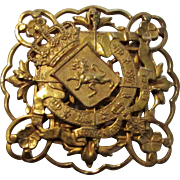 Miriam Haskell Goldtone Coat of Arms Pin