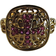 Sterling Silver Gold Wash Ring With Synthetic Rubies in the Shape of a Cross