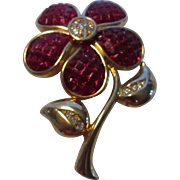 Vintage Swarovski Invisible Set Faux Ruby Goldtone Floral Pin Accented with Clear Crystals