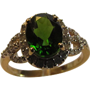 14 Karat Yellow Gold Chrome Diopside and Diamond Ring