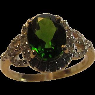 14 Karat Yellow Gold Chrome Diopside and Diamond Ring