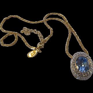 Vintage Nolan Miller Faux Blue Topaz  Pendant on Goldtone Chain