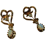 14 Karat Yellow Gold Opal Earrings with Diamond Accents