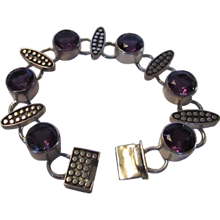 Sterling Silver Amethyst Chunky Bracelet
