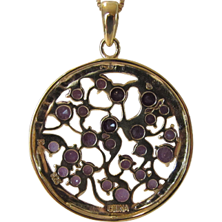 Sterling Silver Amethyst CZ Pendant on a Vermeil Sterling Chain