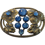 Vintage 1940's Brass and Blue Glass Pin in Floral Theme