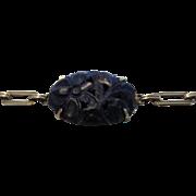 14 Karat Yellow Gold Carved Blue Jade Bracelet