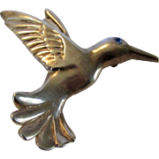 Sterling Silver Airess Flying Hummingbird Pin With Blue Crystal Eye