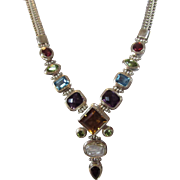 Sterling Silver Gemstone Necklace With A Dazzling Array of Gems: Amethyst, Garnet, Peridot and More