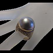 14 Karat Yellow Gold Pearl Ring in Major Dome Setting