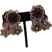 William De Lillo Showstopper Clip Earrings Accented with Purple Glass and Faux Seed Pearls