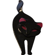 Lea Stein Paris Sleek Black and Red Cat Pin