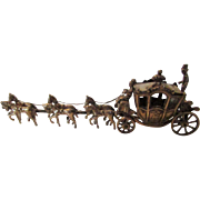 Sterling Silver Highly Detailed Carriage With Horses and Driver