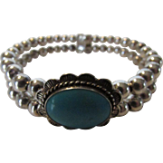 Sterling Silver Designer Cuff With Turquoise