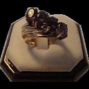 14 Karat Yellow Gold 4 in 1 Amethyst Ring Set