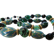 Vintage Hobe Adjustable Bead Necklace in Green Hues
