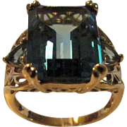 10 Karat Yellow Gold Blue Topaz Ring