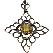 Sterling Silver Citrine Pin or Pendant