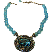 Vintage Heidi Daus Showcase Necklace Enhanced with Blue Crystal