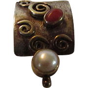 Sterling Silver Artist Crafted Pendant with Coral and Cultured Pearl with Gold Accents
