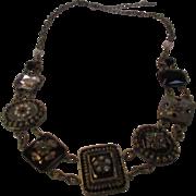 Vintage Designer Necklace With 5 Enamelled Pendants