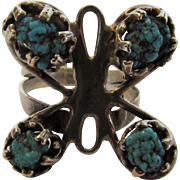 Sterling Silver and Turquoise Butterfly Ring
