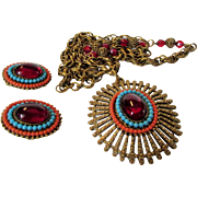 Vintage Art Necklace and Matching Earring Set from the 1970's in Faux Garnet, Faux Turquoise and Faux Coral