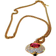Vintage 1990's Joan Rivers Two Sided Pendant on Goldtone Chain