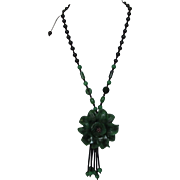 Vintage Carved Genuine Green and Black Onyx Necklace on a Cord With Jadite Accents