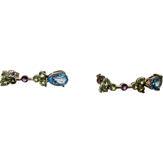 Sterling Silver Peridot, Blue Topaz Earrings with Amethyst Accents