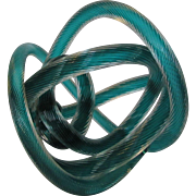 Abstract Blown Art Glass Sculpture in Rope  Pattern in Green