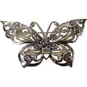 Sterling Silver Gemstone Butterfly Pin Accented with Amethysts
